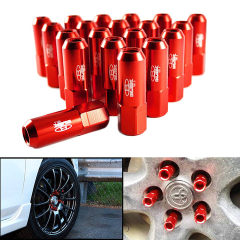 Aluminum Tuner Extended Lug Nuts Tire Screw for Wheels Rims M12 X 1.5 60mm[Red/Black/Blue]