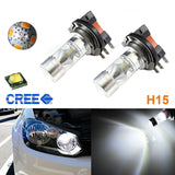(2) Super Bright 100W High Power CREE H15 LED Bulbs For VW Audi BMW Mercedes DRL Lamps White or Amber