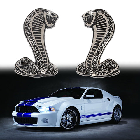 2x Cobra Snake Emblem Chrome Metal Door Fender Badge Stickers for Ford Mustang Shelby