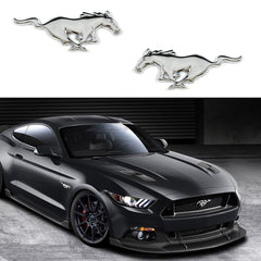 2x Ford Mustang Running Horse Chrome Finish Pony Emblems For Ford Mustang Side Fender Badge