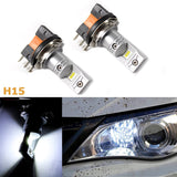 (2) Super Bright White 100W Luxeon H15 LED Bulbs For VW Volkswagen Audi BMW Mercedes Daytime Running Lights 2009-2015