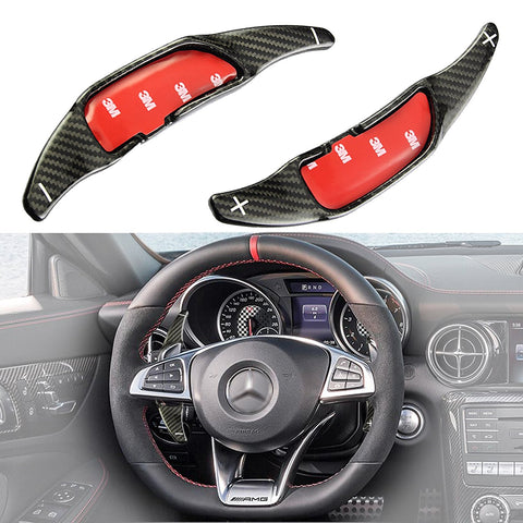 2 pcs Real Carbon Fiber Paddle Shifter Extensions For 2015 2016 Mercedes Benz AMG A C S CLA