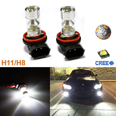 6000K White/Amber 100W CREE H11 H8 H9 LED Bulbs for Fog Lights Lamps Replacement For Infiniti Nissan Acura Audi