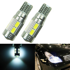 (2) HID White T10 10-SMD Error Free LED Bulbs For European Car Parking Eyelid Lights