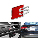 Red S Logo Sport Chrome Badge Emblem For Audi S S4 S5 S6 S8 A4 A6 A8 TT R8 Quattro