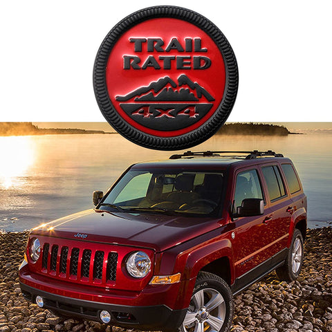 2pcs TARIL RATED 4x4 Badge Car Trunk Lid Side Fenders Body Emblem Nameplate Sticker For Jeep Wrangler [Red/Black/Bronze]
