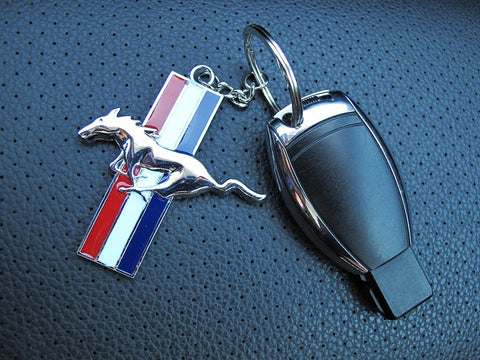 Mustang Chrome Finish Silver Running Horse Keychain Key Chain Ford Mustang