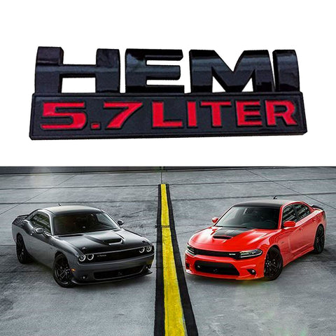 HEMI 7.2 LITER Black Trunk Side Fender Emblem Sticker Trim For Dodge Charger Ram 1500 Challenger Jeep Grand Cherokee