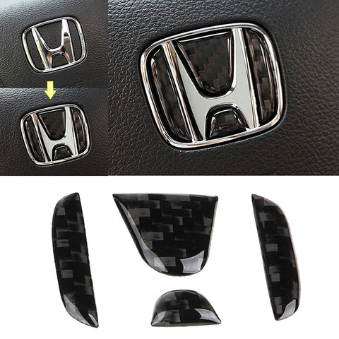 Real Carbon Fiber Steering Wheel Honda Logo Emblem Cover Decal Sticker for Honda Civic CRV 2016 and up