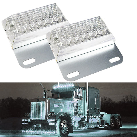 2x Universal 12V 24V Lamp 12-LED Truck UTE SUV Lorry Side Marker Light