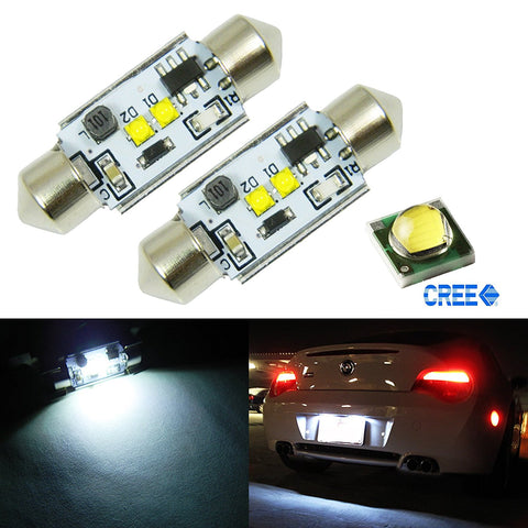 "(2) Xenon White 10W CREE 6418 C5W CANbus LED Bulbs 1.50"" 36mm, Error Free For Audi BMW Mercedes Porsche VW License Plate Lights"