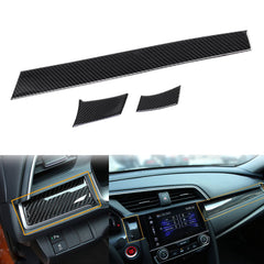 3 pcs Car Interior Trim Real Carbon Fiber 3D Center Console Panel Dashboard Cover Sticker Trim For 2016 2017 2018 Honda Civic 10th