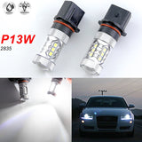 2x Projector Len P13W 80W 6000K White CREE LED Bulbs For Audi A4 Q5 Daytime Running Lights DRL