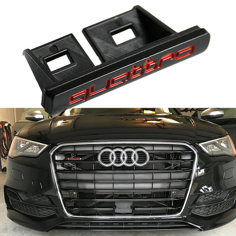 Quattro Front Grille Emblem Badge Black Red For Audi S S4 S5 S6 S8 A4 A6 A8 TT R8