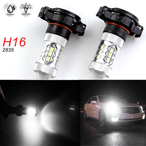 (2) Super Bright White 6000K 80W H16 5202 2504 Projector Lens LED Bulbs for Daytime Running Fog Lights
