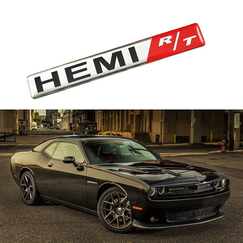 1x HEMI RT R/T Badge Aluminium Emblem Decal Sticker For Dodge Challenger Charger Chrysler Jeep Trunk