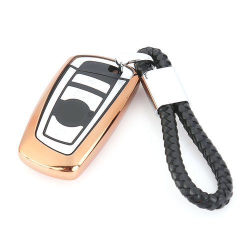 Key Fob Case Soft TPU Remote Control Key Shell Cover Case for BMW 1 3 4 5 6 7 Series X3 X4 M2 M3 Keyless, Gold