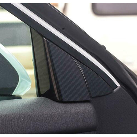 Carbon Fiber Style / Red Interior Car Front Door A Pillar Cover Trim for Toyota Camry 2018 2019 2020