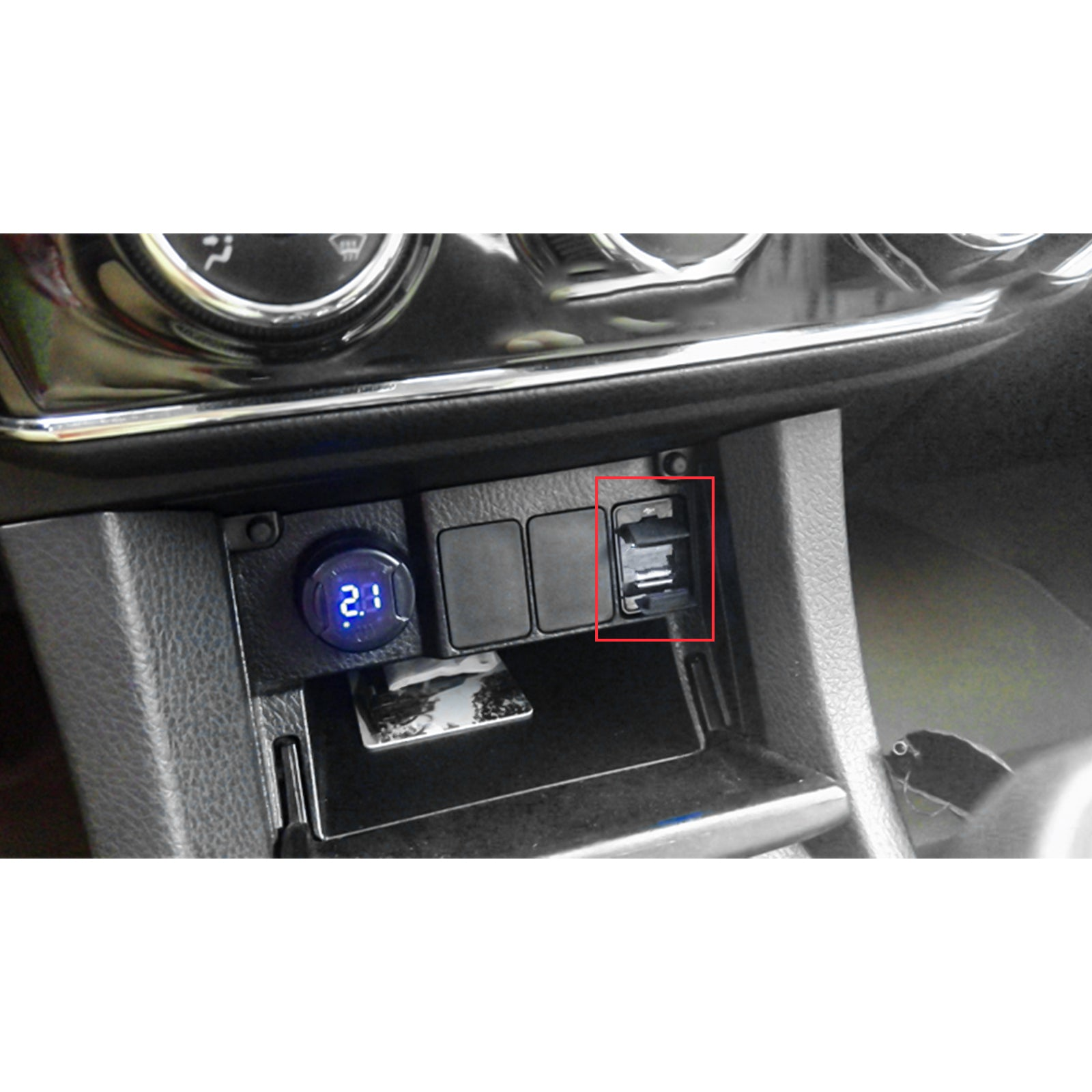 Dual USB Car Charger Socket with Audio Input Port for Toyota