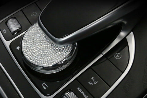 Bling Crystal Center Console Multimedia Control Knob Cover for Mercedes Benz W205 C Class X205 GLC Class W213 E Class, Car Interior Decoration Décor Bling