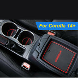 15pcs Full Interior Cup Holder Coaster Door Slot Mat for Toyota Corolla 2014-2019 - Non-slip Anti-dust Mat