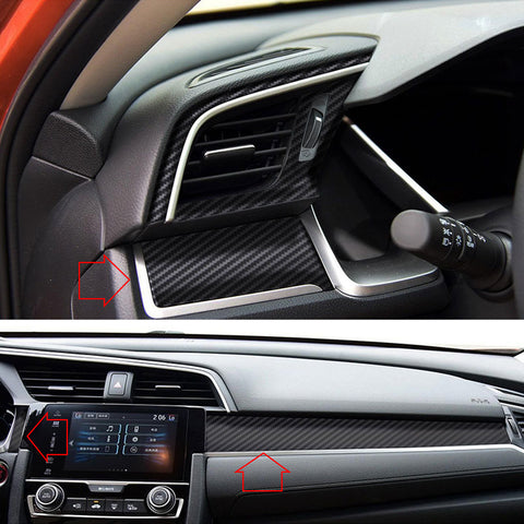 Carbon Fiber Style Center Dashboard Console Panel Vinyl Decal Trim Sticker Molding for Honda Civic 2016 2017 2018 2019 2020