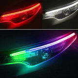 "2pcs RGB Car LED Light Strip, 24"" Multicolor LED Daytime Running Light Bar Sequential Turn Signal Light Tube Flexible Car Switchback Headlight Kit"