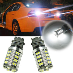 2X White\ Amber 50-SMD 21W 3156 3457 3357 4057 LED Turn Signal Light Bulbs