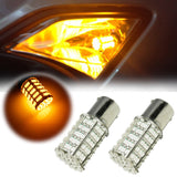 4x 3000K High Power White\ Amber 1156 7506 7507 127-SMD LED Bulbs For Turn Signal Light