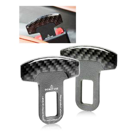 Universal Carbon Fiber Car Safety Seat Belt Buckle Alarm Stopper Clip Clamp