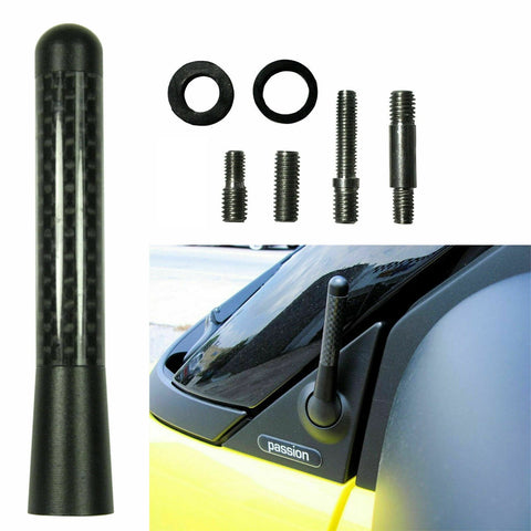 "JDM Universal 3"" 76mm Black Carbon Fiber Aluminum Car RADIO SCREW-IN Short Antenna Universal Fit"
