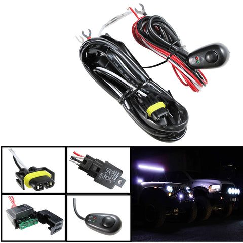 H11 H8 Relay Harness Wire Kit + LED ON/OFF Switch For For Aftermarket Fog Lights, Driving Lights, HID Conversion Kit, LED Work Lamp, etc