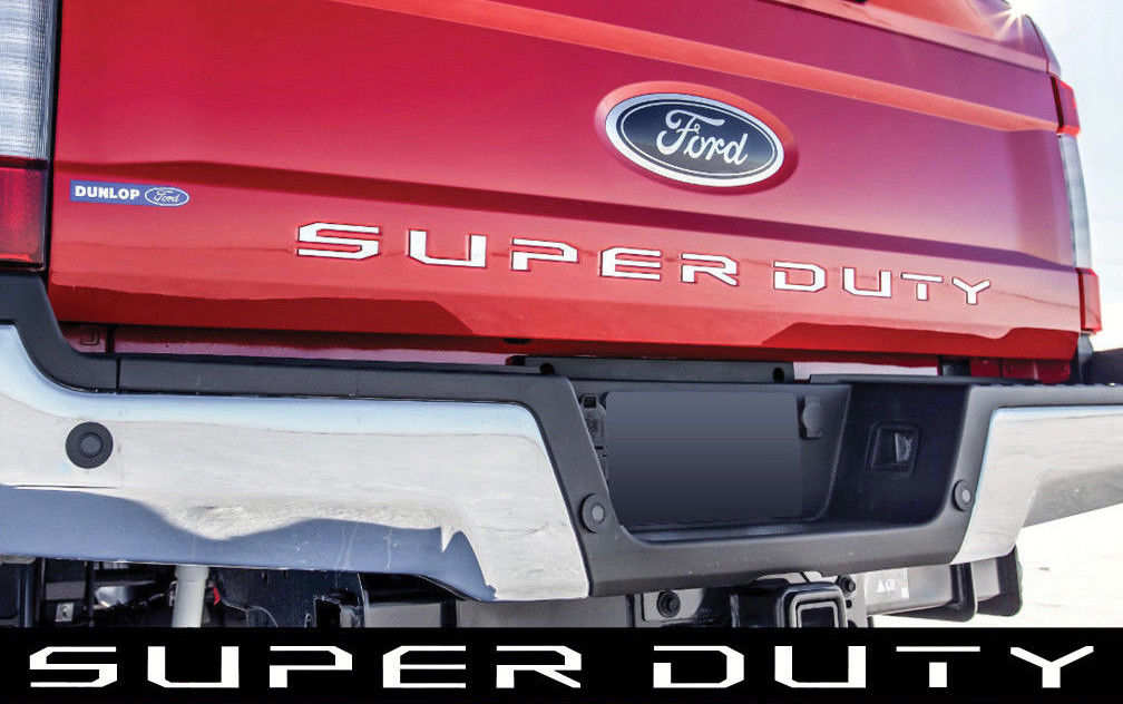 Ford F150 F250 F350 F450 F550 Super Duty Brushed Silver SUPERDUTY Letters Decal Emblem Tailgate Sticker for 2017