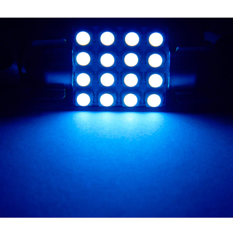 10PCS 36MM Ice Blue 16-SMD Festoon LED Bulbs Dome Lights 6418 6423 C5W 6451