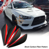 4pcs Carbon Fiber Pattern Bumper Lip Fins Canards Splitters Diffuser(Matte Grey /Black)