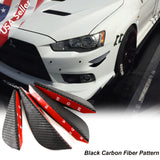 4pcs Carbon Fiber Pattern Trim Bumper Fins Diffuser Canards Splitters Kits(Grey/Black)