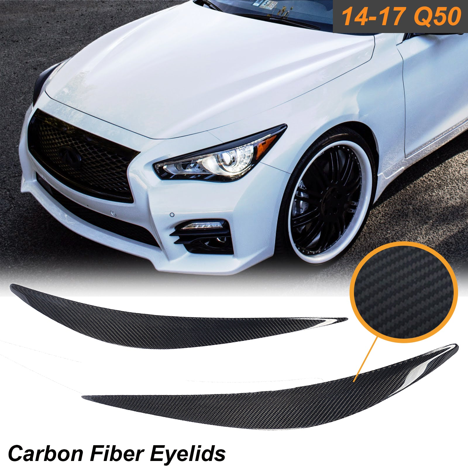 Carbon Fiber Eyelid Covers Headlight Eyebrow Lids Fit Infiniti Q50