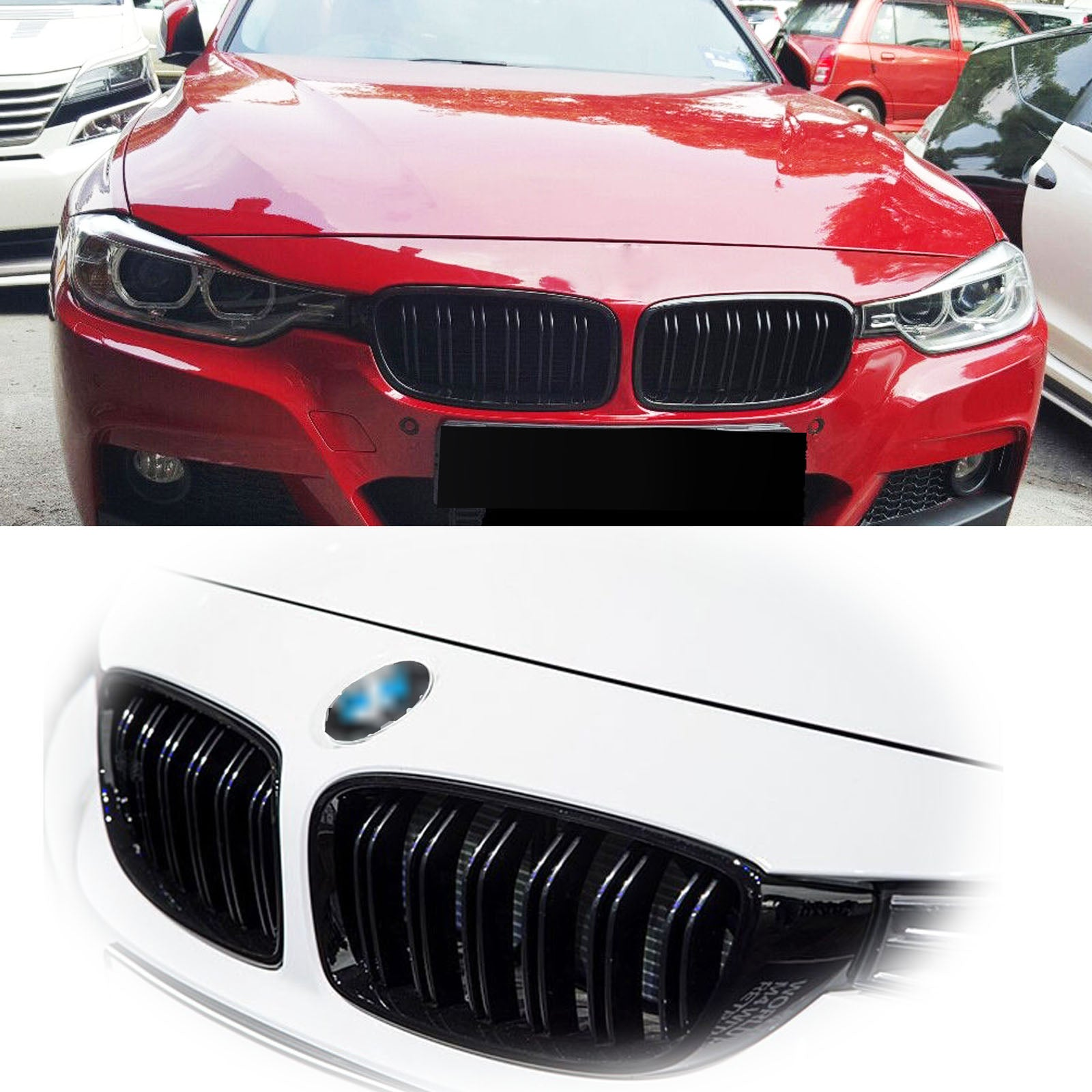 2x Glossy Black Front Left And Right Kidney Grille Grill For 2012