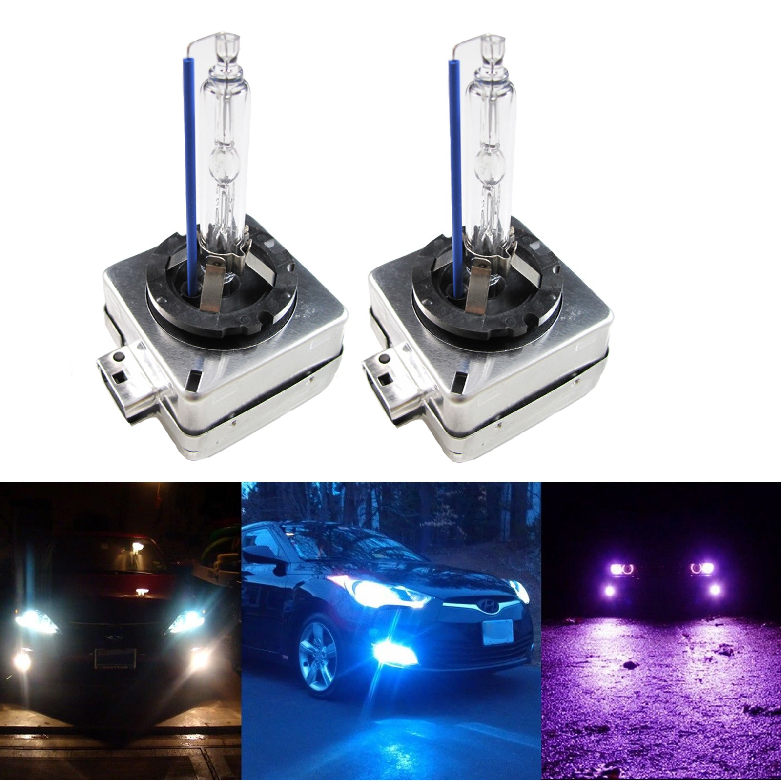 ICBEAMER 10000K D1R D1C D1S Xenon HID Direct Replacement Replace OEM Factory Headlight Low Beam Light Bulbs Color:Blue