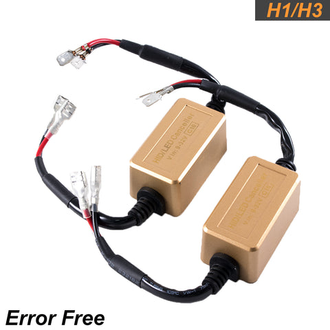 New H1 H3 LED Canbus Headlight Decoder Adapters Anti Hyper Blink Flash Error Free