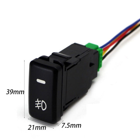 Factory Style 4-Pole 12V Push Button Switch w/ LED Background Indicator Lights For Fog Lights, DRL, LED Light Bar, etc (39mm Standard Size)