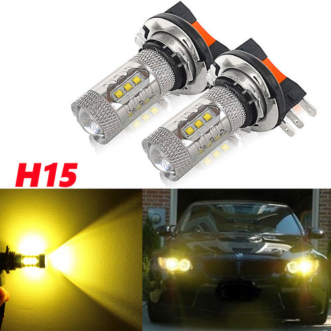 2x Gold Yellow 80W H15 CREE LED Bulbs for VW Audi Driving Daytime Running Lights Fog Lights