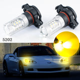 3000K 80W Gold Yellow Projector H16 5202 High Power LED Bulbs 16-SMD Fog DRL Driving Light