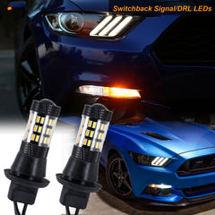 2x 7440 Dual Color Switchback White Amber LED Kit for DRL Turn Signal Lights NEW