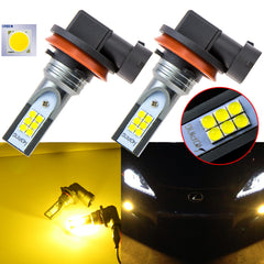 6000K Xenon White\ 3000K Gold Yellow 12-SMD 3030 H11 H9 H8 Cree LED Bulbs for 2006-17 Honda Civic CR-V Fit Fog Light Driving
