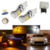 2 PCS High Power 7443 Switchback White/Amber 31-SMD LED Bulbs For Front Turn Signal Lights