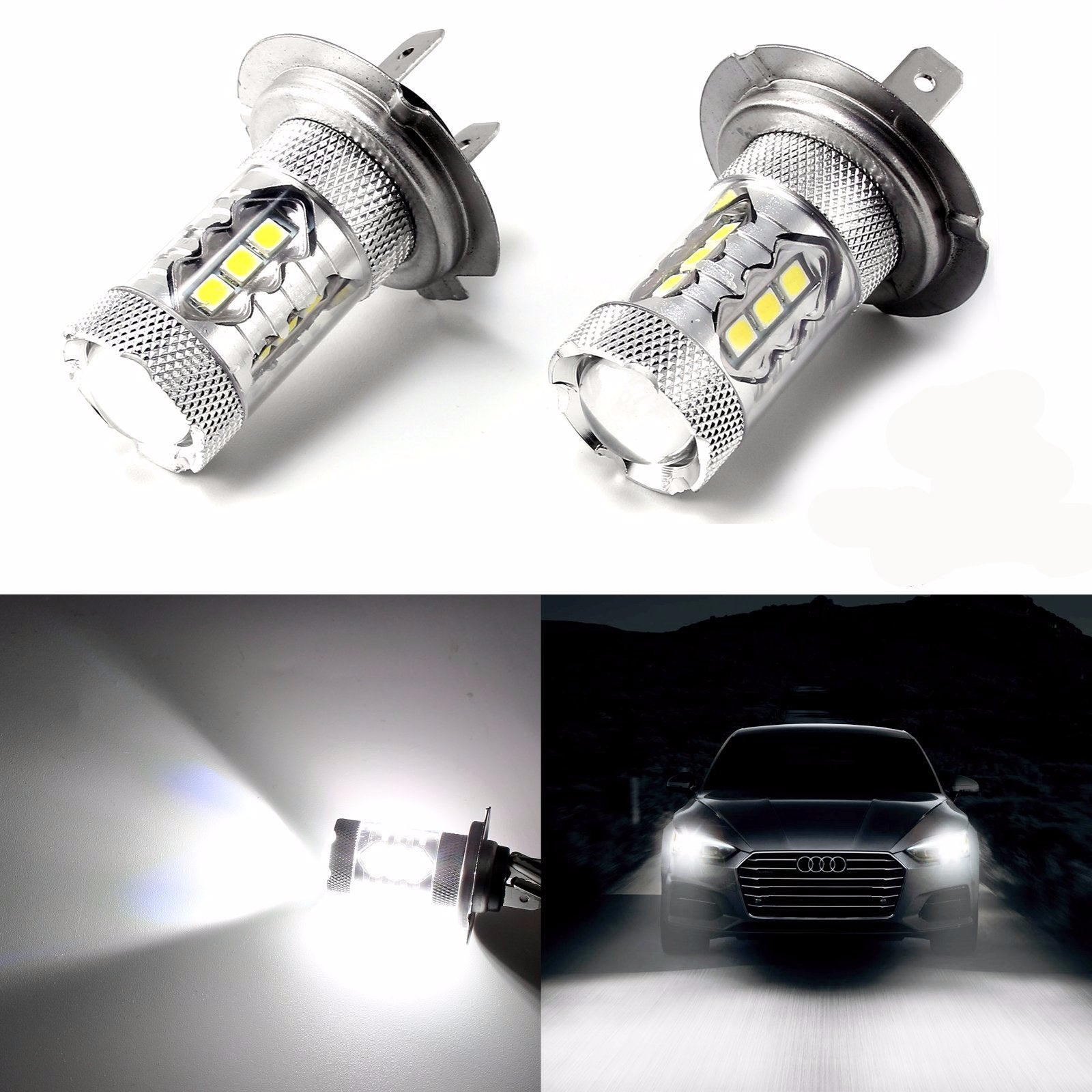 High Power Pure White 80W H7 CREE LED Bulbs for DRL Headlights ...