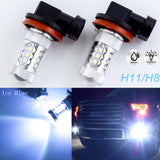 2pcs Ice Blue 10000K 80W Cold White H8 H11 H9 LED Bulbs for Daytime Running DRL Fog Lights