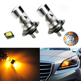 Super Bright White/Amber 100W CREE H7 LED Car Fog Daytime Running Light Bulbs DRL