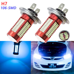 Super Bright 4014 H7 Projector LED Bulbs 106 SMD For DRL Daytime Running Light[White 6000K / Ice Blue 10000K]